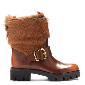 AUTHENTIC! NEW! PRADA Fur Ankle Boots